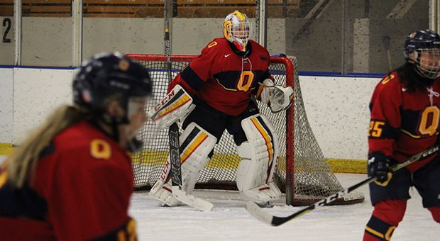 Goaltender Stephanie Pascal faced 59 shots in Queen's 2-1 overtime loss in game two.