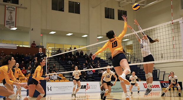 The women's volleyball team fell to the Western Mustangs 3-1 in the first round of OUA playoffs.