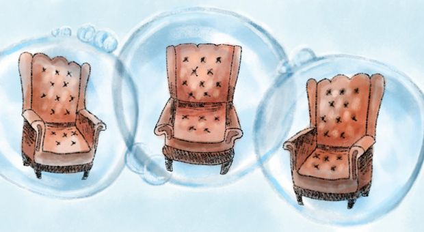 Three chairs enclosed in bubbles