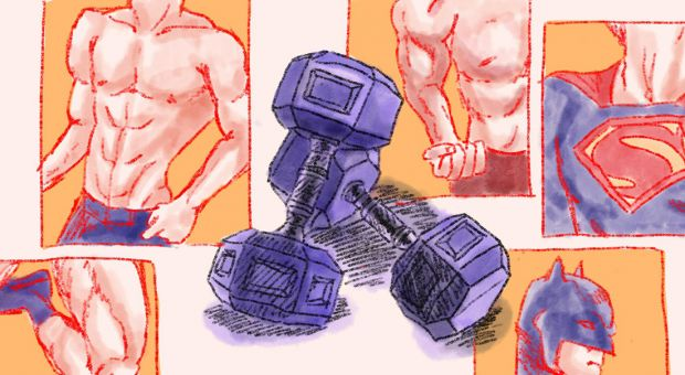 two weights and toned men