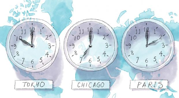 Three clocks in different time zones