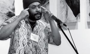 Dub poet Klyde Broox, who performed at the Union Gallery festival opening last night, will also facilitate the Write to Resist workshop Saturday morning and perform Saturday evening.