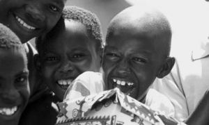 Nigerian children receiving shoeboxes from Operation Christmas Child.