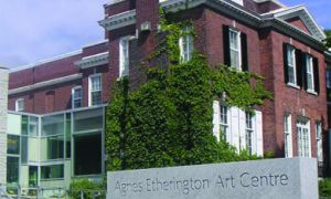 The Agnes Etherington Art Centre was a gift of Agnes Etherington, a patron of the arts who left her house, pictured above, to Queen's. Most displays are mounted in a new addition at left (not shown), but the house has been restored to its original state and is open to tours.