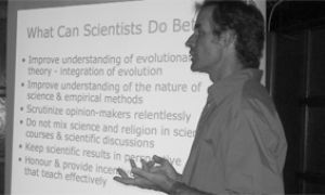 Chris Eckert explains the importance of science on Wednesday night.