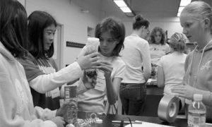 Grade 7 and 8 girls made water filters while learning about the engineering world on Saturday.