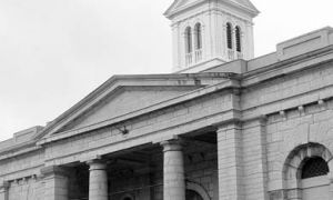 The penitentiary's North Gate, which still stands on King Street West, was completed in 1845 as part of the original building. Its pillars represent the pillars of justice.