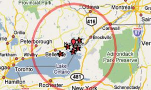 This map shows a 100-mile radius around Kingston. Local food is closer than you think.