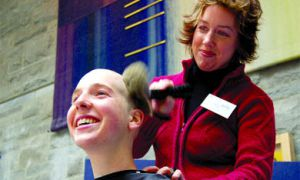 Lola-Jean Gentles, PhysEd '08, sheared off her hair to support the fifth annual Cuts for Cancer.