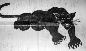 "This pencil and felt marker depiction of a panther was at the centre of a controversy between an AMS Deputy Human Rights Commissioner and the ""Art in Colour"" event organizer."
