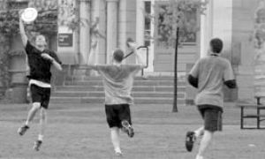 Frisbee playing can get highly competetive, and it is one of the favourite activities of Queen's students remaining in Kingston over the summer months.