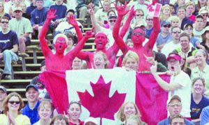 Fans see red as Canada bloodied the field in the Pan-Am rugby tournament held at Richardson Stadium on May 19. Canada beat the USA 19-10.