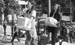 Students participate in the annual moving in ritual at Victorial Hall.