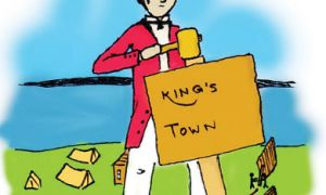 "June 1784: A band of Loyalists arrived at the site of Fort Frontenac fleeing from the United States and called their new home ""King's Town."""