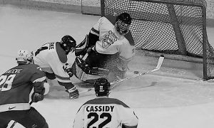 The men's hockey team faces McGill last year. Queen's hosts the Redmen Saturday night at 8:30 at the Memorial Center.