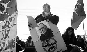 Donna Dillman speaks at a rally protesting Bob Lovelace's incarceration on Feb. 23.