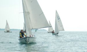 Students try out for the Queen's Sailing Team on Lake Ontario Thursday. The team recently purchased 10 new boats with the Kingston Yacht Club's help.