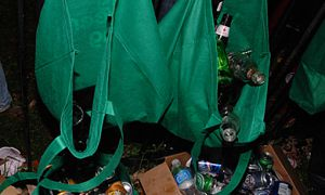 AMS Municipal Affairs Commissioner Paul Tye says the cups and water bottles handed out by the Red Hat volunteers at Homecoming 2007 produced an excess of plastic waste.