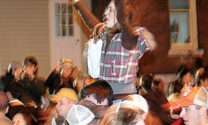 Partiers on Aberdeen Street during Homecoming last year.