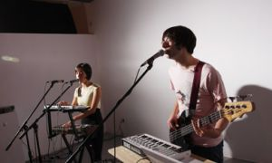 A stripped down version of Europe in Colour played their electric pop indie set, armed with an array of instruments.