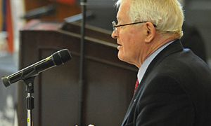 Former Prime Minister John Turner speaks at a tribute event at Grant Hall on Friday.
