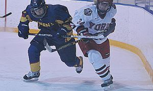 Queen's forward Victoria Kaufman (27) battles York defender Michelle Daniels for the puck Saturday. The Gaels lost 4-1.