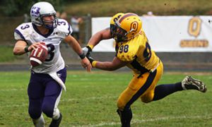 Dee Sterling, seen here in a Sept. 27 game against the Western Mustangs, is the highest drafted Queen's player since 1993.