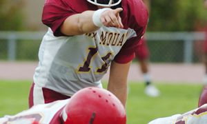 New Gaels' quarterback Justin Chapdelaine at the helm of the W.J. Mouat Hawks.