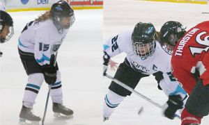 Twin sisters Brittany (left) and Morgan McHaffie scored a combined total of 76 points last season playing for the PWHL team the Cambridge Fury.
