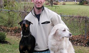 Gregory Poels, ArtSci '09, with his two dogs, Java Bean (left) and Ice-dog. Poels died in his sleep June 28.