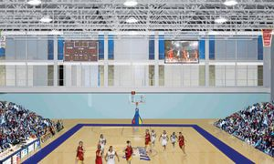 A depiction of what the Queen's centre will look like during the 2012 CIS men's volleyball championship.