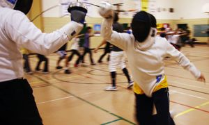 Two Queen's fencers duel during practise at the gym in West Campus' Duncan McArthur Hall last Wednesday.