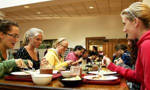 A group of first-year girls have dinner at Ban Righ Cafeteria. According to the University registrar, 60.1 per cent of the Queen's class of 2013 is female.