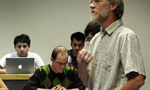 Economics department Chairman Lorne Carmichael teaches his ECON 360 Labour Economics class last week.