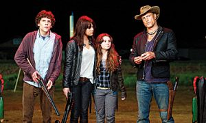 Jesse Eisenberg, Emma Stone, Abigail Breslin and Woody Harrelson team up to school some zombies and make it to the West Coast in one piece.