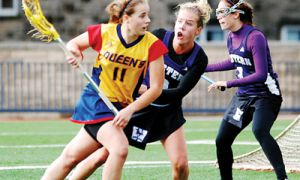 Gaels midfielder Gwyneth Ross looks for a shot on Saturday morning on Tindall Field during Queen's 8-7 loss to Western.