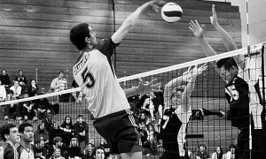 Outside hitter Joren Zeeman spikes the ball during the Gaels' straight-set win over the Varsity Blues on Friday night.