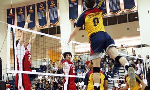 Outside hitter Brian Fautley makes a jumping spike during the men's 3-0 victory on their new home court.