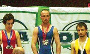 Wrestler Matt Di Staulo (right) won the OUA bronze medal in the 57-kilogram weight class two weeks ago in London.
