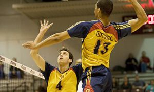 Middle hitter Michael Amoroso spikes the ball against Guelph in the OUA gold medal game.