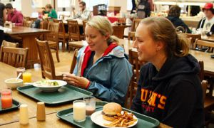 High-school participants in the University Experience Program take workshops and experience cafeteria food.