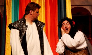 Clayton Garrett (left), Zorba Dravillas (not pictured) and Steven Spencer (right) each bring unique talent to their roles in The Complete Works of William Shakespeare.