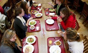 Students eat together in Ban Righ cafeteria. Eating at university is a largely social experience, students say.