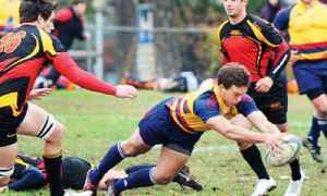 Centre Jonathon Guichon scores a try for the Gaels in their victory over the Guelph Gryphons. The Gaels will be in Hamilton this Saturday for the semifinals.