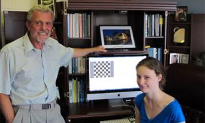 Fourth-year computing student and quantum chess creator Alice Wismath, right, brought to life the ideas of her thesis supervisor Selim Akl, left.