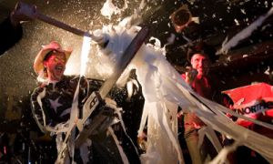 To say White Cowbell Oklahoma have a captivating live show is a grossly offensive understatement, their antics including but not limited to chainsaws, liquor, nudity, dancing, fire, toilet paper, liquor, voodoo, astrology, Bigfoot and liquor.