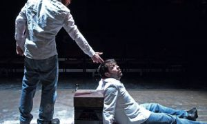 Guillaume Trembly and Jimmy Blais (from left) travelled from Montréal to play both halves of the titular L'homme invisible/Invisble Man in Theatre Kingston's current bilingual production.