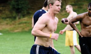 Next season's starting quarterback Billy McPhee works out at West Campus last week.