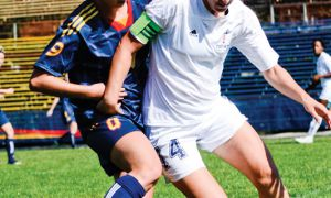 Midfielder Alexis McKinty closes down a University of Toronto player on Sunday at Richardson Stadium.