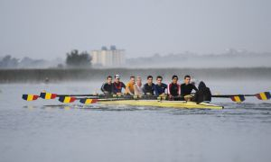 The men's varsity lightweight eight-men crew trains on the Cataraqui River Wednesday morning.